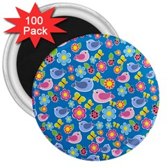 Spring pattern - blue 3  Magnets (100 pack)