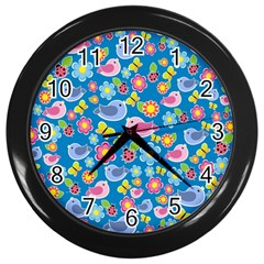 Spring pattern - blue Wall Clocks (Black)