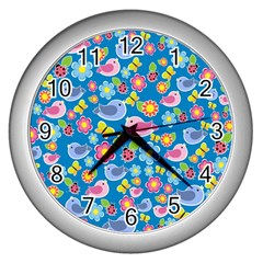 Spring pattern - blue Wall Clocks (Silver)