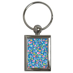 Spring pattern - blue Key Chains (Rectangle)