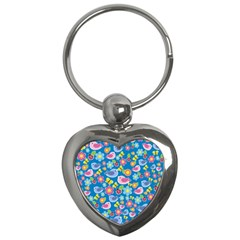 Spring pattern - blue Key Chains (Heart)