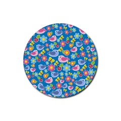 Spring pattern - blue Rubber Round Coaster (4 pack)