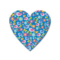 Spring pattern - blue Heart Magnet
