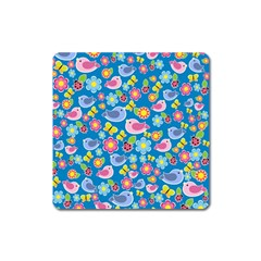 Spring pattern - blue Square Magnet