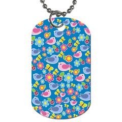 Spring pattern - blue Dog Tag (One Side)