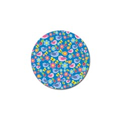 Spring pattern - blue Golf Ball Marker