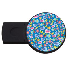 Spring pattern - blue USB Flash Drive Round (1 GB)