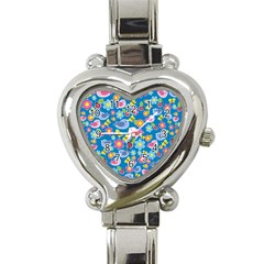 Spring pattern - blue Heart Italian Charm Watch