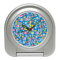 Spring pattern - blue Travel Alarm Clocks