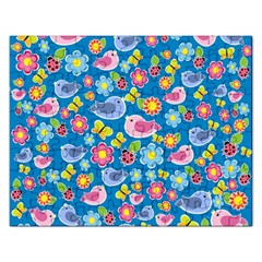 Spring pattern - blue Rectangular Jigsaw Puzzl