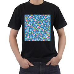 Spring pattern - blue Men s T-Shirt (Black) (Two Sided)