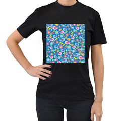 Spring pattern - blue Women s T-Shirt (Black) (Two Sided)