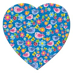 Spring pattern - blue Jigsaw Puzzle (Heart)