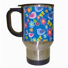 Spring pattern - blue Travel Mugs (White)