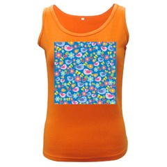 Spring pattern - blue Women s Dark Tank Top