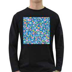 Spring pattern - blue Long Sleeve Dark T-Shirts