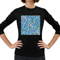 Spring pattern - blue Women s Long Sleeve Dark T-Shirts