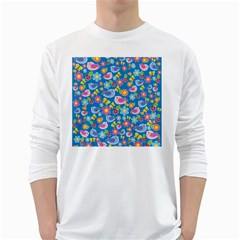 Spring pattern - blue White Long Sleeve T-Shirts