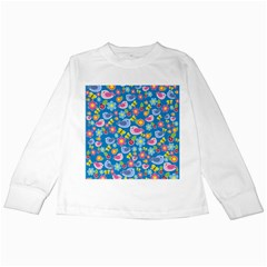 Spring pattern - blue Kids Long Sleeve T-Shirts