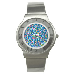 Spring pattern - blue Stainless Steel Watch