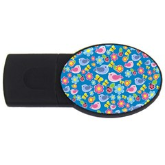 Spring pattern - blue USB Flash Drive Oval (4 GB)