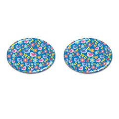 Spring pattern - blue Cufflinks (Oval)