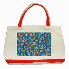 Spring pattern - blue Classic Tote Bag (Red)