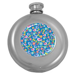 Spring pattern - blue Round Hip Flask (5 oz)