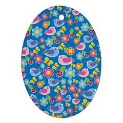 Spring pattern - blue Oval Ornament (Two Sides)