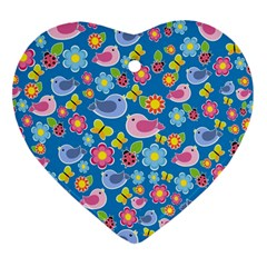 Spring pattern - blue Heart Ornament (Two Sides)