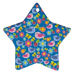 Spring pattern - blue Star Ornament (Two Sides)