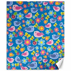 Spring pattern - blue Canvas 8  x 10