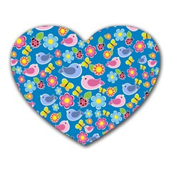 Spring pattern - blue Heart Mousepads