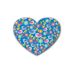 Spring pattern - blue Rubber Coaster (Heart)