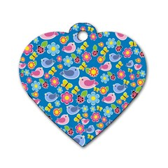 Spring pattern - blue Dog Tag Heart (One Side)