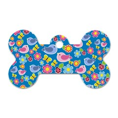 Spring pattern - blue Dog Tag Bone (Two Sides)