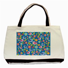 Spring pattern - blue Basic Tote Bag (Two Sides)