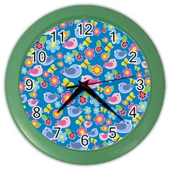 Spring pattern - blue Color Wall Clocks