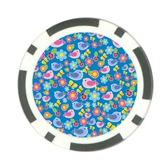Spring pattern - blue Poker Chip Card Guard