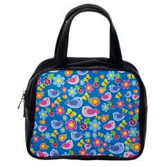 Spring pattern - blue Classic Handbags (One Side)