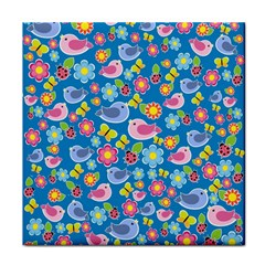 Spring pattern - blue Face Towel