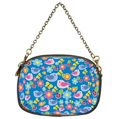Spring pattern - blue Chain Purses (One Side)