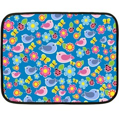 Spring pattern - blue Double Sided Fleece Blanket (Mini)