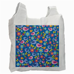 Spring pattern - blue Recycle Bag (Two Side)