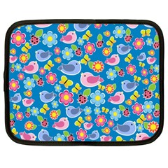 Spring pattern - blue Netbook Case (XXL)
