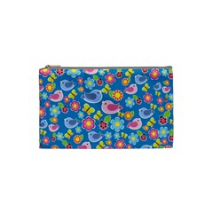 Spring pattern - blue Cosmetic Bag (Small)
