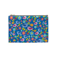 Spring pattern - blue Cosmetic Bag (Medium)