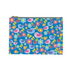 Spring pattern - blue Cosmetic Bag (Large)