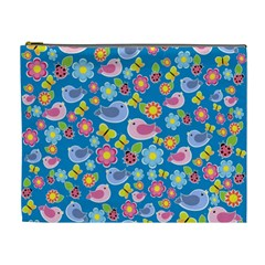 Spring pattern - blue Cosmetic Bag (XL)