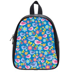 Spring pattern - blue School Bags (Small)
